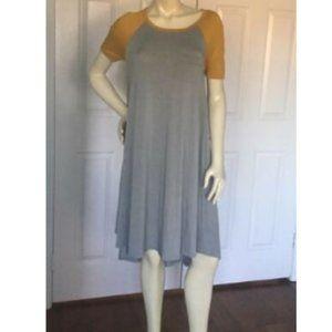 LulaRoe Carly Swing Dress Hi Low Grey w/ Gld XXS